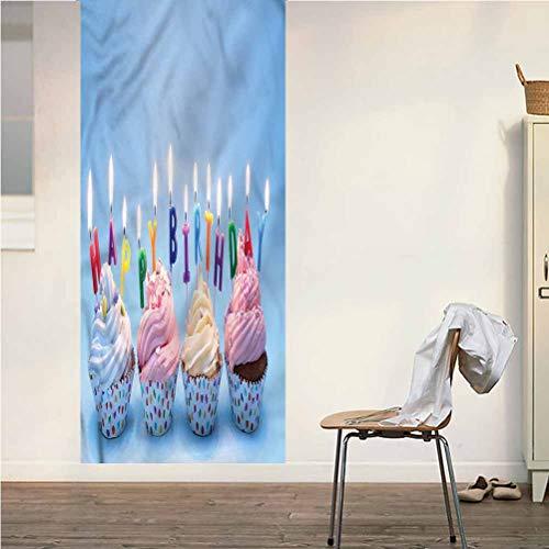 Poppy Ramsden Birthday ONE Piece Door Stickers Wall Murals,Cupcakes Letter Candles Peel and Stick Vinyl Door Mural Decals for Door/Wall/Fridge,32x95 Inch