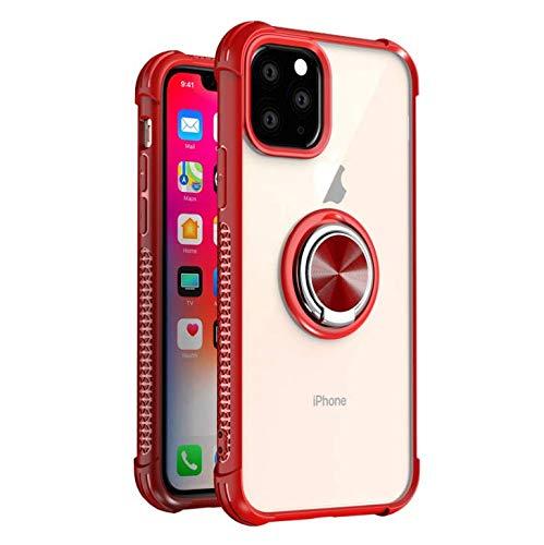 GOBY Coque iPhone 11 pro Case TPU Slim Fit avec Support de Bague Silicone Gel Anti Mince Placage Bumper Housse Lustre Métal 360° Bague Support Téléphone Voiture Etui (rouge)