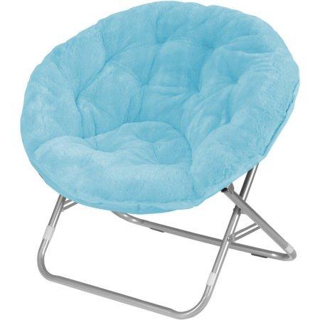 Urban Shop Faux Fur Saucer Chair, Aqua