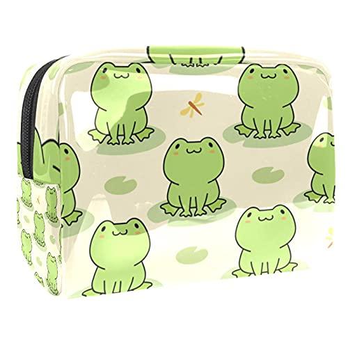 Neceseres para Maquillaje de niños Rana Verde de Dibujos Animados Animales Bonitos Bolsa de Almacenamiento de Viaje Impermeable de PVC Impresa Personalizada 18.5x7.5x13cm