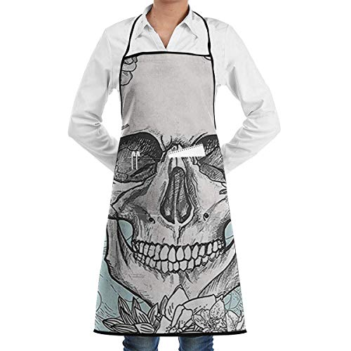 dfhfdsh Schürze Kochschürze Skull and Flowers Day of The Dead Mexican Grill Aprons Kitchen Chef Bib Professional for BBQ Baking Cooking for Men Women Pockets