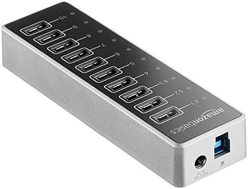 Amazon Basics - USB-Hub, USB-C 3.1 mit 10 Anschlüssen und Netzadapter - 65 W (20 V/3,25 A), Silberfarben