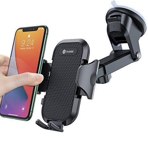 andobil Car Phone Mount Easy Clamp, Ultimate Hands-Free Phone Holder for Car Dashboard Air Vent Windshield, Super Suction Compatible iPhone 11/11 Pro/8 Plus/8/SE/X/XR/XS Samsung S20/S10, Matte Black