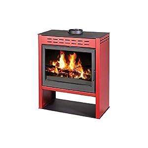 Estufa de leña rojo chimenea quemador de leña para estufa chimenea