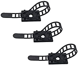 50pcs Cable Clips the Adhesive Cable Ties, Adjustable Nylon Cable Zip Ties and Adhesive Cable Clips with Optional Screw Mount for Cord Management (Black)