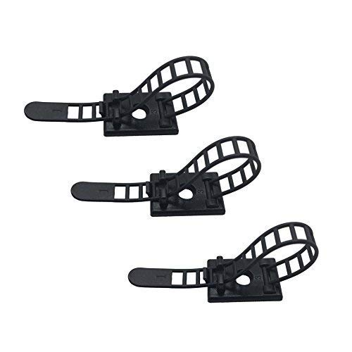 50 Pieces Adhesive Cable Management Ties Cord Management Clips Cable Organizer Cable Ties with Optional Screw Mount Cord Fasteners