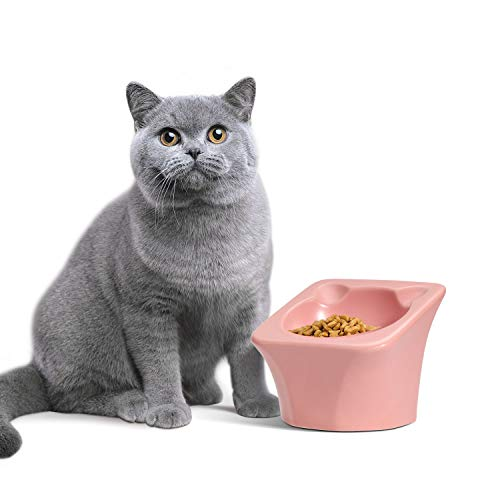ComSaf Ceramic Raised Cat Food Bowl, Elevated Tilted Pet Feeding Bowl, Non-Slip Kitten Feeder for Food Water, Pink Cat Dish, 90ml
