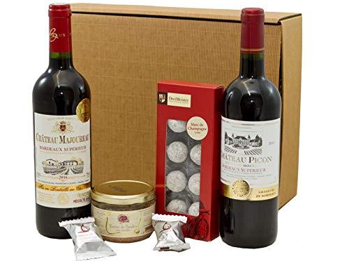 Geschenkset französischer Genuss | 2 x französischer Rotwein (Bordeaux) trocken | Trüffel Marc de Champagne | Wildschweinpastete | 2 x Feigen in Schokolade