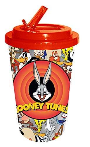 Silver Buffalo Looney Toons Bullseye with Bugs Bunny Plastic Flip Straw Cold Cup, 16-Ounce, red