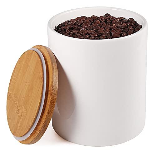 77L Keramik Vorratsdose, 1570 ML (53.04 FL OZ) Keramik Vorratsdose mit Luftdichtem Verschluss Bambusdeckel Modernes Design Weißer Vorratsbehälter aus Keramik zum Servieren von Tee, Kaffee und mehr