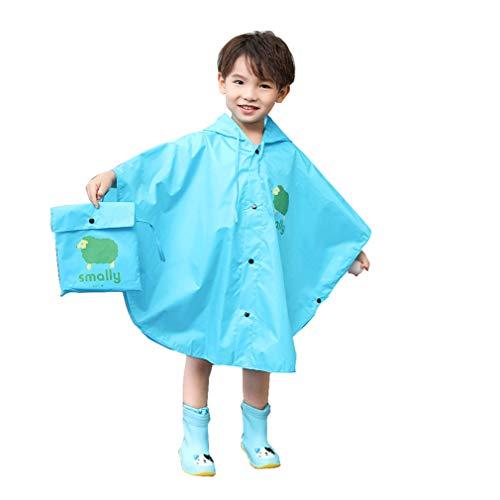 Gagacity Unisex Bambini Slim Mantello Impermeabile Giacca Antipioggia Poncho con Cappuccio Mantella Pioggia Blu/S