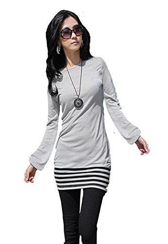 Mississhop 5-78 Damen Minikleid Kleid Tunika mit schwarzen Streifen Japan Style Grau S