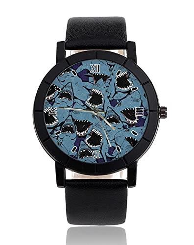 Simple moda personalizada unisex hombres mujeres reloj de pulsera simple cuarzo negocios casual relojes de pulsera enojado tiburón animal