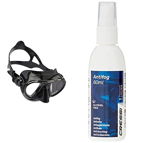 Cressi Nano 50 - Máscara De Buceo, Color Negro + Premium Anti Fog - Antivaho Spray para Máscara De Buceo/Gafas De Natación, 60 Ml