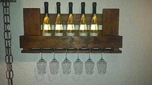 """Weinregal Palettenmöbel """"Livorno"""" aus Paletten Weinregal, Küchenregal, Gewürzregal mit Glashalter Handgefertigt"""