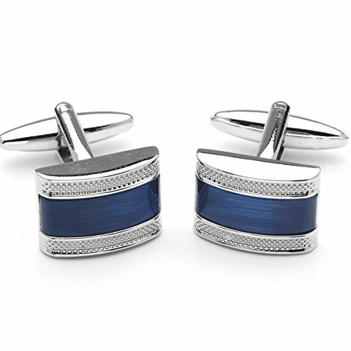LINDENMANN Manschettenknöpfe, silberfarben, Katzenauge blau, Geschenketui, 10700