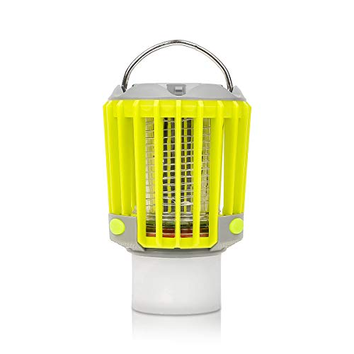 Camp Smart Bug Zapper with LED Flashlight and Lantern. 3-in-1 Rechargeable Mosquito Killer Lamp, Waterproof Handy Portable Compact Gear. Outdoors, Indoors, Camping, Hiking, Fishing, Traveling, Picnics