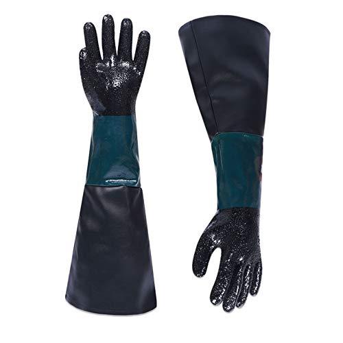 60 cm lange Sandstrahlmaschinen-Handschuhe, Sandstrahl-Handschuhe, Gummi, Sandstrahl-Handschuhe für Modell 60, 90, 110, 260 Sandstrahl-Schrank, PVC plus gefütterte Schutzhandschuhe