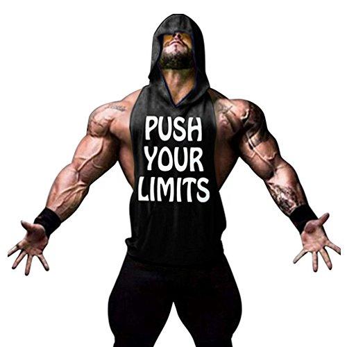 Befox Homme Débardeur à Capuche Maillot Sans Manches Tank Top Gym Stringer T-Shirt Sous-vêtements Fitness Musculation,Noir,L