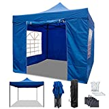 RNSSEZ Pop Up Gazebo with Sides 3m x 3m, Waterproof Heavy Duty Gazebo, Outdoor Garden Shelter with Black Storage Carry Bag and 4 Gazebo Weight Bags (Blue)