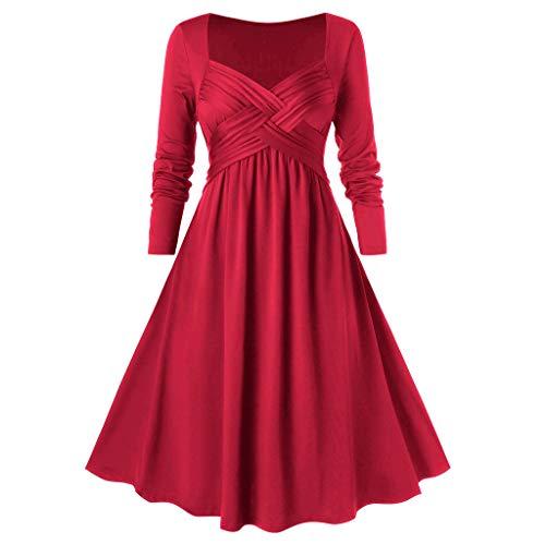 iYmitz Cocktailkleid Faltenkleid Damen Rockabilly Kleid mit V-Ausschnitt und Kreuzausschnitt Kleid Faltenrock Faltenrock Langarm Festlich