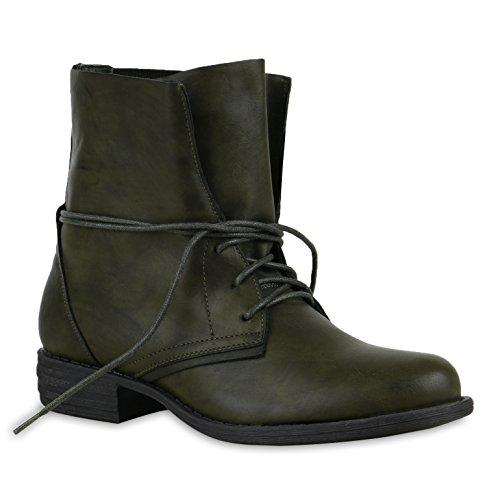 Damen Desert Boots Schnür Camouflage Stiefeletten Leder-Optik Blockabsatz Booties Muster Schuhe 127721 Dunkelgrün 36 Flandell
