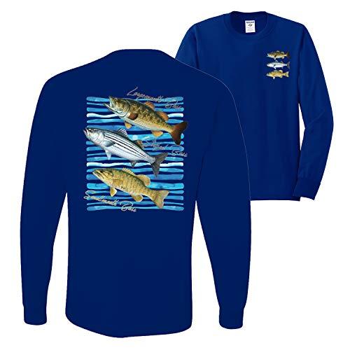 Largemouth Striped Smallmouth Big Bass Fish | Mens Fishing Long Sleeve T-Shirt, Royal, X-Large
