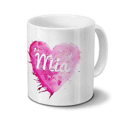 Tasse mit Namen Mia - Motiv Painted Heart - Namenstasse, Kaffeebecher, Mug, Becher, Kaffeetasse - Farbe Weiß