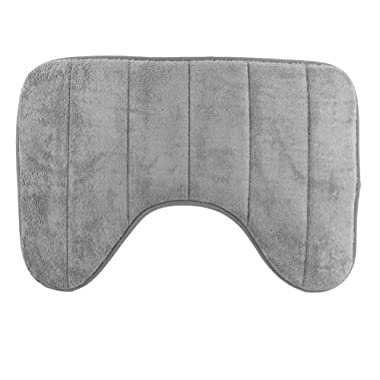 SUMLINK U-shaped Loving High Density Space Memory Cotton Toilet Bathroom Carpet Floor Mats (15.7 x 23.6 Inch) (Grey)
