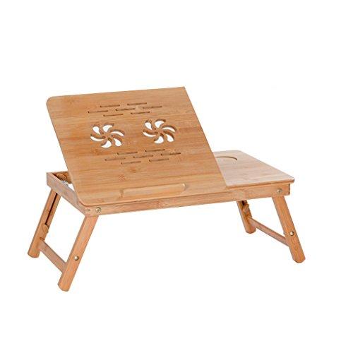 TMY Portable Pliable en Bambou Ordinateur Portable Bureau Table de lit Table Pliable Hauteur réglable avec tiroir (Taille : C-63 * 35 * 22CM)