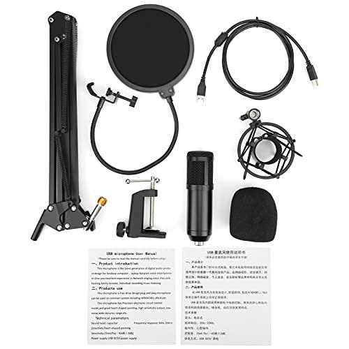 Juego de mezcla de micrófonos, kit de micrófono de condensador USB Amplias aplicaciones Instalación fácil y sencilla con parabrisas para transmisión en vivo de karaoke en PC