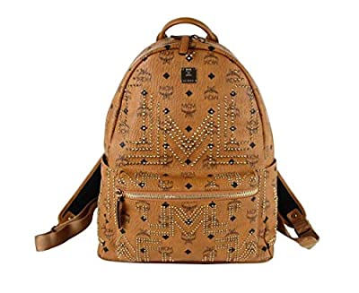 MCM Unisex Cognac Brown Coated Canvas Medium Studded Backpack MMK8AVE55CO001 from