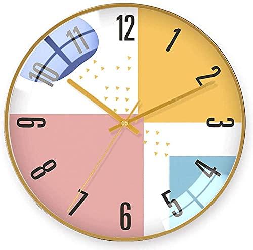 chazuohuaile Co.,ltd Reloj De Pared Reloj De Pared Decorativo Minimalista Material De Vidrio Y Metal Relojes Electrónicos Personalidad Reloj Geométrico Abstracto Dorado Creativo