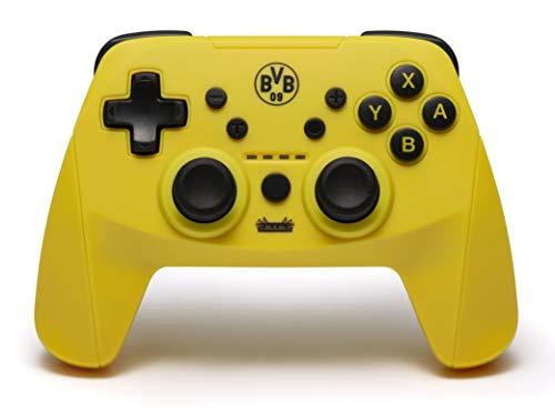 snakebyte BVB Wireless Pro Controller (SWITCH) - Offiziell lizenzierter Borussia Dortmund Bluetooth Gamepad für Nintendo Switch, Lite / Analoge Dual Joysticks / Capture-Button / Turbo-Funktion / Akku