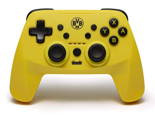 snakebyte BVB Wireless Pro Controller (SWITCH) - Offiziell lizenzierter Borussia Dortmund Bluetooth Gamepad für Nintendo Switch, Lite / Analoge Dual Joysticks / Capture-Button / Turbo-Funktion / Akku