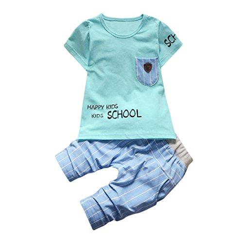 Hirolan Säugling Baby 2 Stück Jogginganzug Outfits Kinderbekleidung Jungen Hemd Mädchen Beschriftung Tasche T-Shirt Oberteile Gestreift Hose Kleinkind Neugeborene Kleidung (100, Blau)
