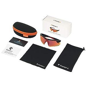 Horus X - Gafas de Sol Deportivas - Gafas de Sol con protección UV400 - Gafas de Sol Deportivas para Ciclismo y para Correr al Aire Libre - Hombre y Mujer - 2 tamaños (S / M)