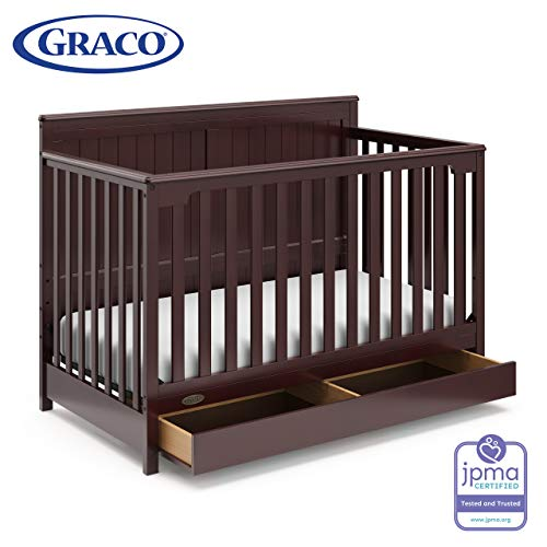 Graco Hadley 4-in-1 Convertible Crib with Drawer, Espresso, Easily Converts to Toddler Bed Day Bed or Full Bed, Three Position Adjustable Height Mattress,Some Assembly Required (Mattress Not Included)