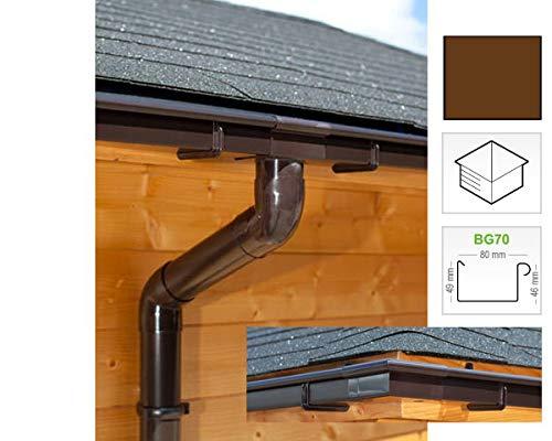 Dachrinnen/Regenrinnen Set   viereckiges Dach (4 Seiten)   Kastenrinnen   Kastendachrinnen   BG70   in braun! (Umriss bis 21.00 m (Kompl. Set))