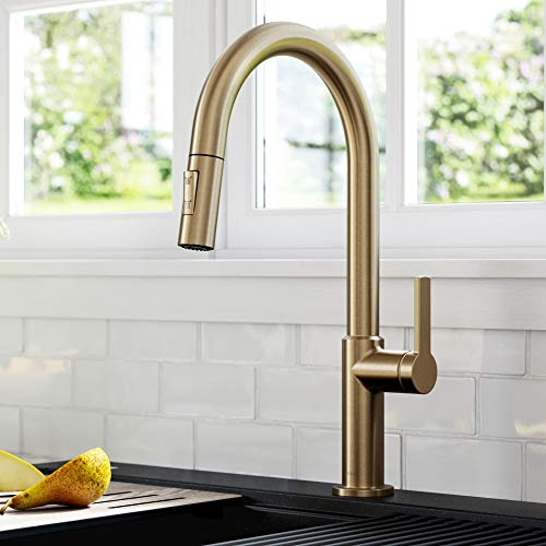 Kraus KPF-2820SFACB Oletto Single Handle Pull-Down Kitchen Faucet, 17 Inch, Antique Champagne Bronze