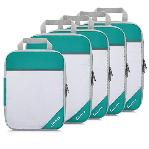Gonex 5pcs Travel Packing Set, Compression Packing Cubes, Extensible Storage Mesh Bag Organizers, 4 Medium and 1 Small Compression Packing Cubes for...