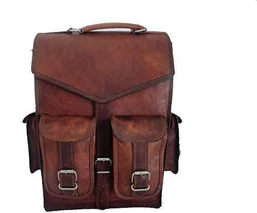 (11' x 15') Handmade World Brown Vintage Leather Backpack Laptop Messenger Bag Rucksack Sling for Men Women