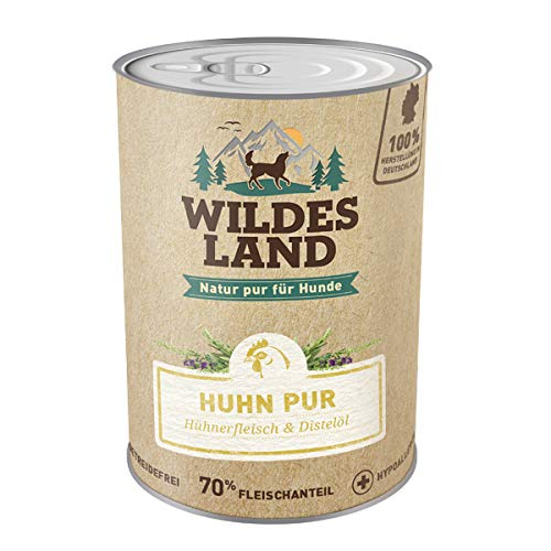 Wildes Land Hundefutter Nassfutter Huhn PUR 400g (6 x 400g)