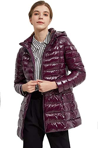 Orolay Women s Shiny Down Coat Bubble Winter Coat Light Puffer Jacket with Hood Grape Wine XL product image