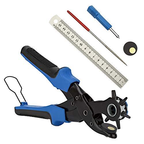 INDARA® Lochzange (Blau) - Lochstanzer eignet sich ideal für Lederschuhe, Gürtel, Ledertaschen, und Armbanduhren - Gürtellochzange inkl. ergänzendem Set wie Lineal, Schleifstab und Punch Platte