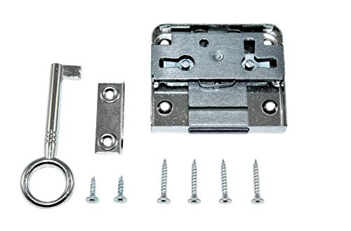 SN-TEC Aufschraubschloss/Möbelschloss/Schrankschloss 30mm Dornmaß rechts/links verwendbar incl. Zubehör