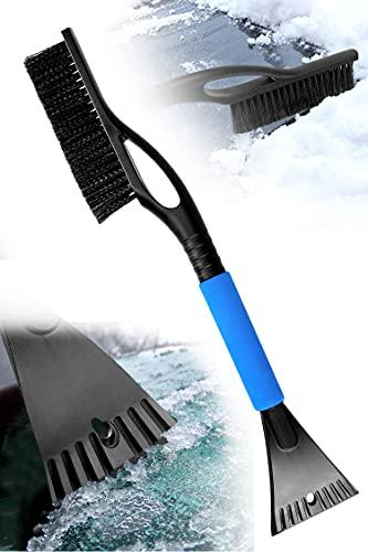 JOOLESER Cepillo de Nieve con escobilla de Goma para raspador de Hielo, Agarre de Espuma, 2 en 1 anticongelante, Durabilidad Extrema para Coche, camión, SUV, MPV, Parabrisas, removedor de Hielo