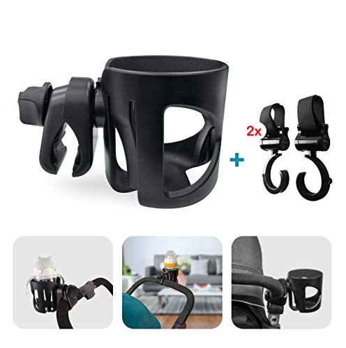 Bekerhouder Voor Kinderwagen - Pram Cup Holder, Pushchair/Stroller Cup Holder, Universal Baby Bottle Pram Organiser, Drink and Coffee Cup Holder, with 2 Pram Hooks, Can Be Used for Baby Buggy, Bike and Wheelchair
