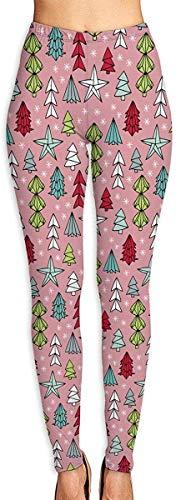 LVOE TTL Pantalones de Yoga Árboles de Navidad y Origami Decoración Estrellas Estacional Geométrico Diseño de Vacaciones de diciembre Rosa Multicolor Fitness Power Flex Yoga Pantalones Leggings