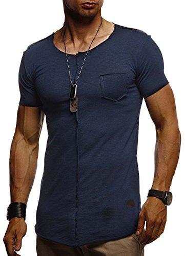 Leif Nelson Herren Sommer T-Shirt Rundhals-Ausschnitt Slim Fit Baumwolle-Anteil Basic Männer T-Shirt Crew Neck Hoodie-Sweatshirt Kurzarm lang LN6288 Dunkel Blau Medium